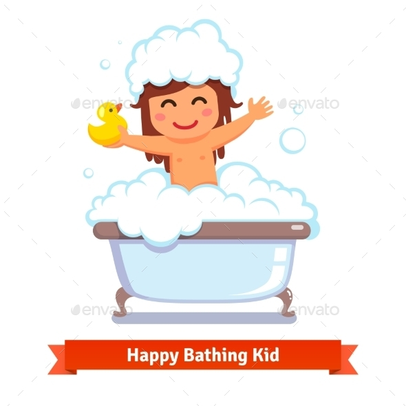 Baby Girl Taking Bath With Duck Toy And Bubbles - People Characters