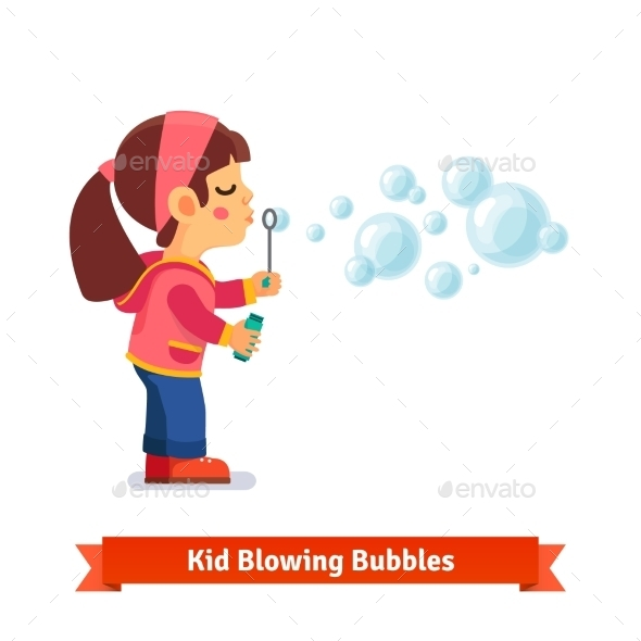 Cute Little Girl Blowing Soap Bubbles Through Wand - People Characters