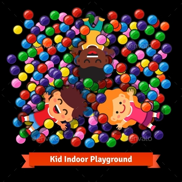 Kids Playing At The Indoor Pool Of Plastic Balls - People Characters