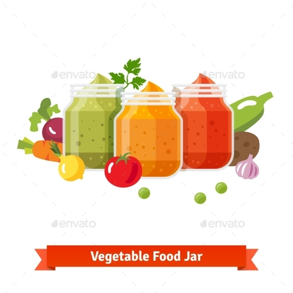Vegetable Food Jars. Baby Puree - Food Objects