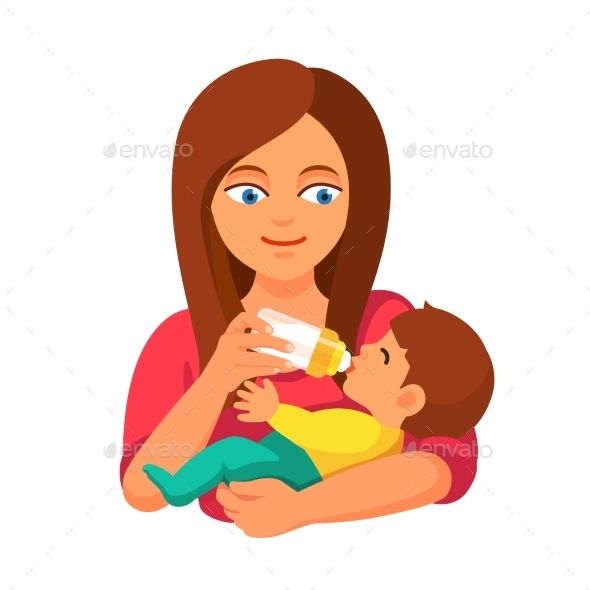 Mother Holding And Feeding Baby With Milk Bottle - People Characters