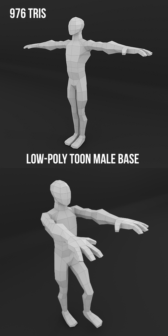 Low-Poly Toon Male Base - 3DOcean Item for Sale