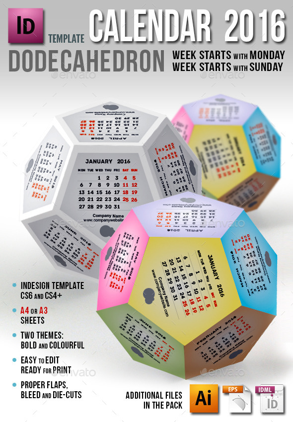 Calendar 2016 - Dodecahedron - Calendars Stationery