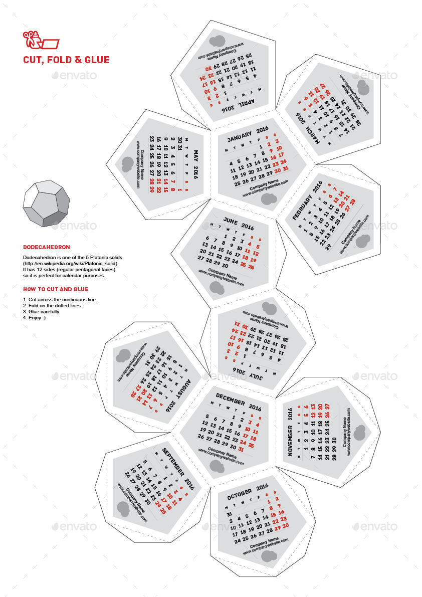 Calendar 2016 - Dodecahedron by lumberjackbg   GraphicRiver