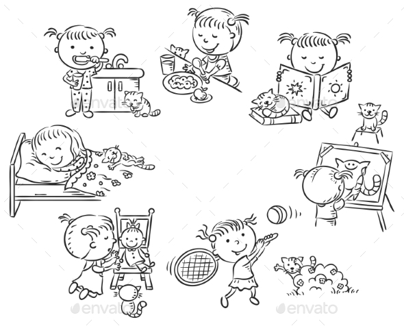 Little Girl's Daily Activities - People Characters