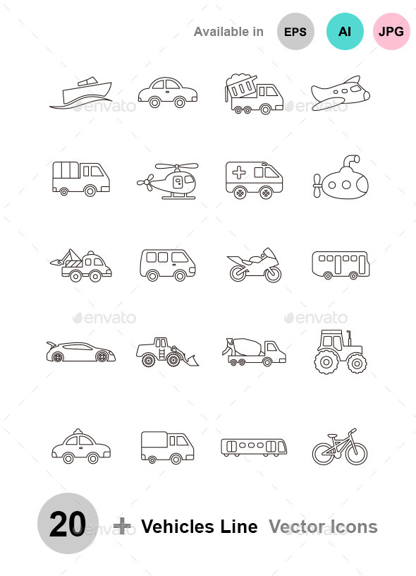Vehicles outline vector icons - Man-made objects Objects