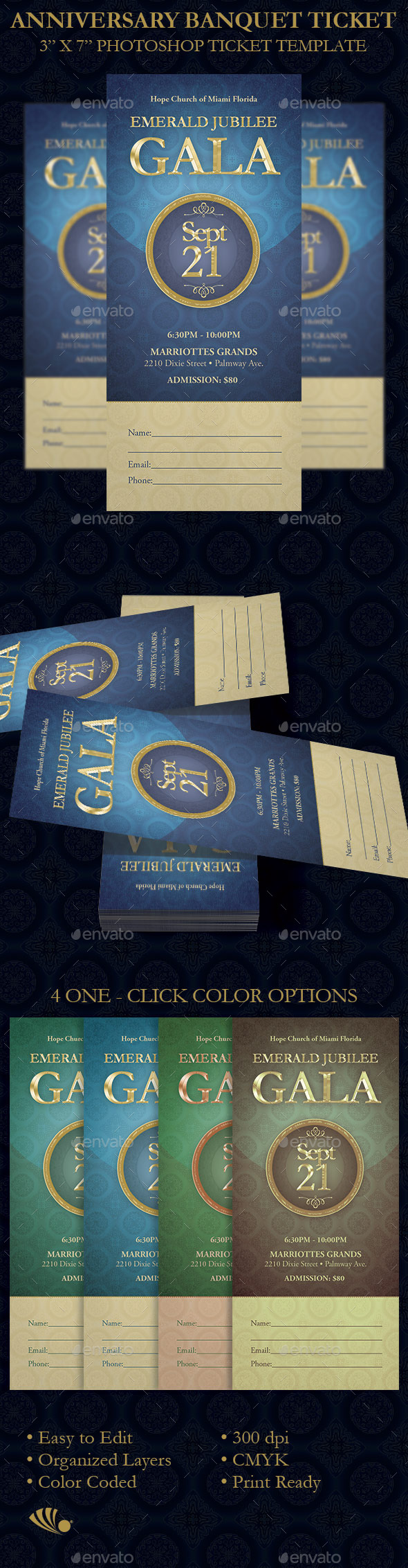 Anniversary Banquet Ticket Template  - Miscellaneous Print Templates