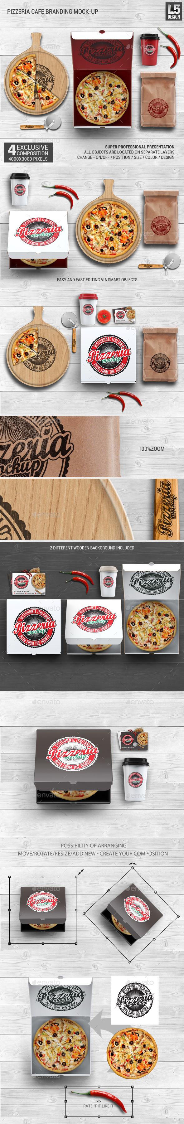 Pizzeria Branding Identity Mock-up - Food and Drink Packaging