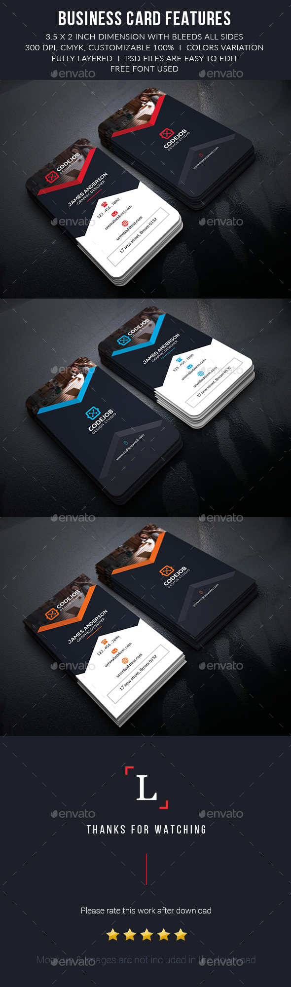 Codejob Corporate Business Cards - Print Templates