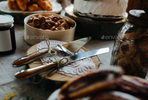 blade and cake knife - Stock Photo - Images
