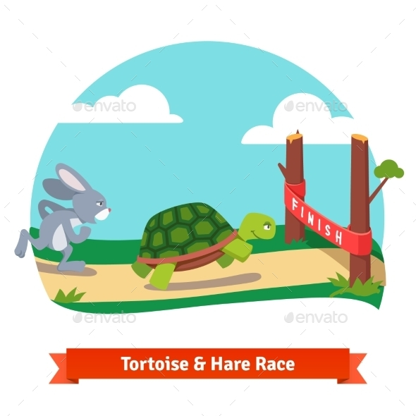The Tortoise And The Hare Racing Together To Win - Animals Characters