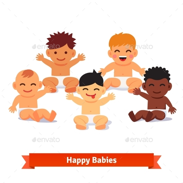 Group Of Infants. Five Mixed Race Baby Boy - People Characters