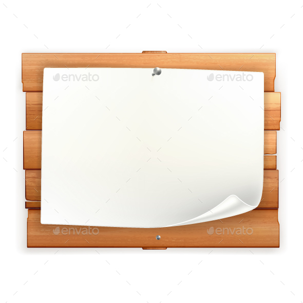 Announcement on Wooden Board - Vectors