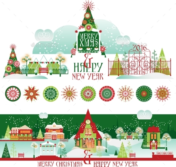 Christmas Decorating Set with Eve Cityscape  - Christmas Seasons/Holidays