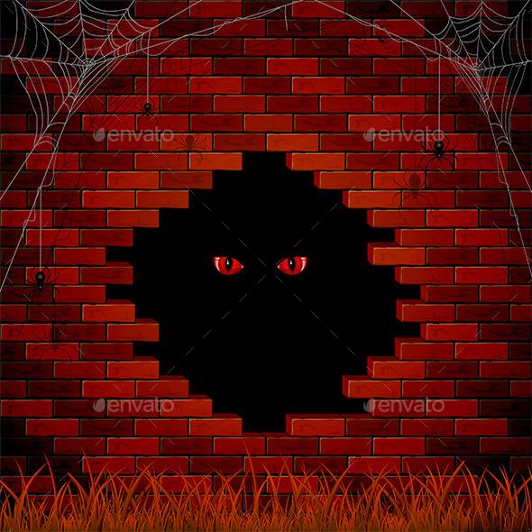 Evil Eye in the Hole of the Brick Wall - Halloween Seasons/Holidays