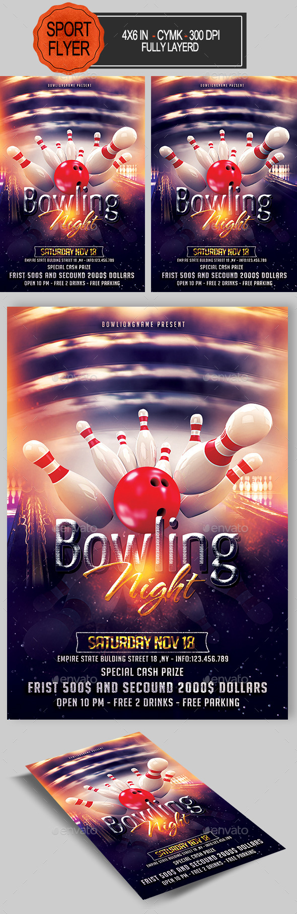 Bowling Night Flyer - Sports Events