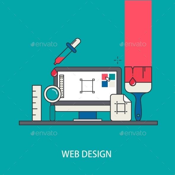 Vector Modern Thin Line Flat Design - Web Technology