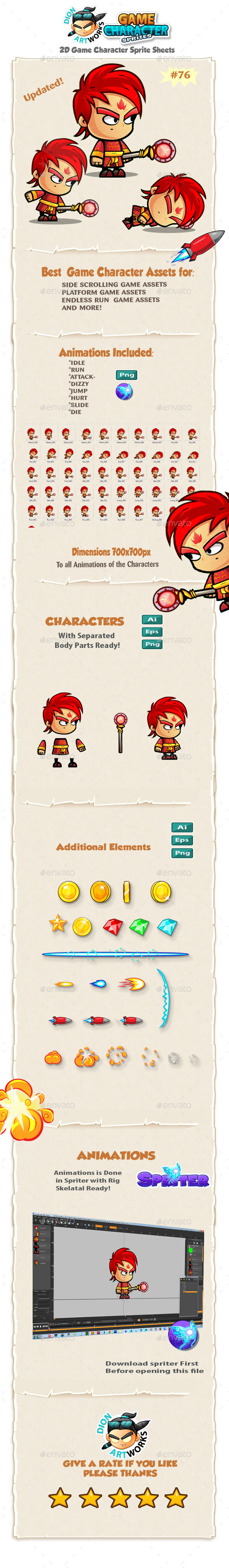 Fire Mage 2D Game Character Sprites 76 - Sprites Game Assets