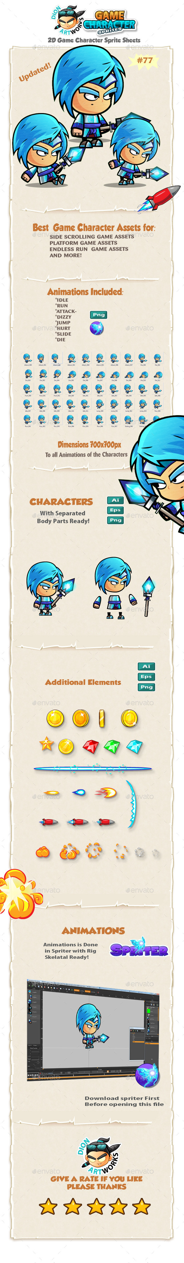 Ice Mage 2D Game Character Sprites 77 - Sprites Game Assets
