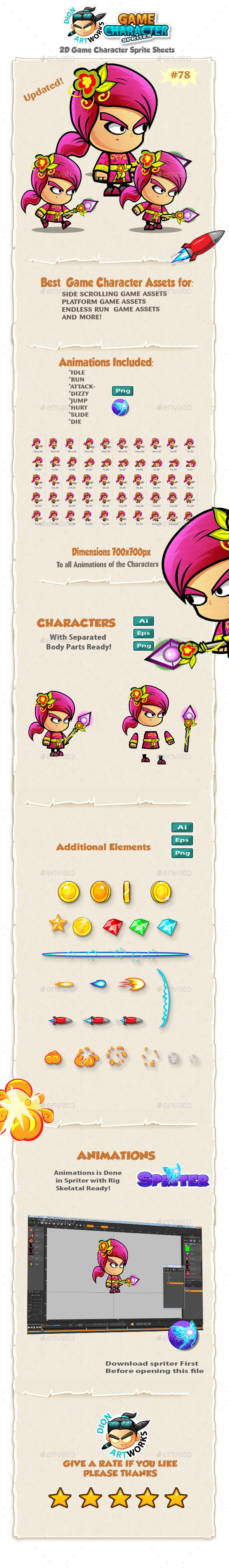 Plants Mage 2D Game Character Sprites 78 - Sprites Game Assets