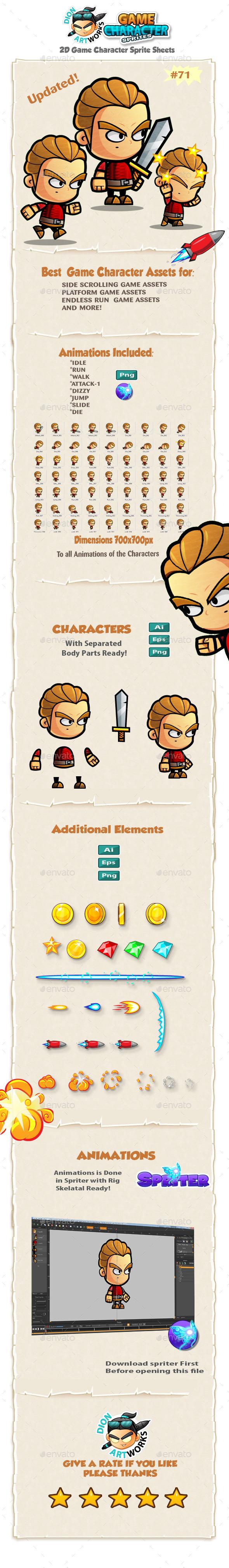 Warrior 2D Game Character Sprites 71 - Sprites Game Assets