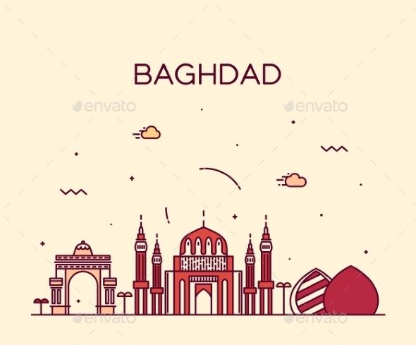 Baghdad Skyline Vector Illustration Linear Style - Landscapes Nature