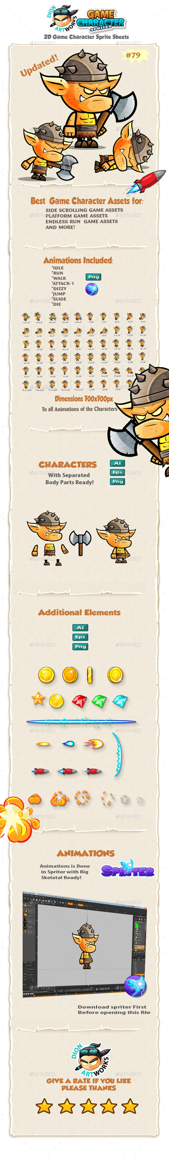 Orc Warrior 2D Game Character Sprites 79 - Sprites Game Assets