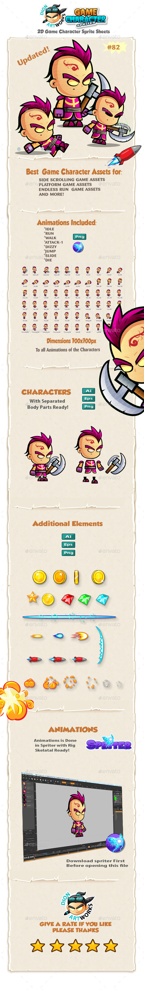 2D Game Character Sprites 82 - Sprites Game Assets