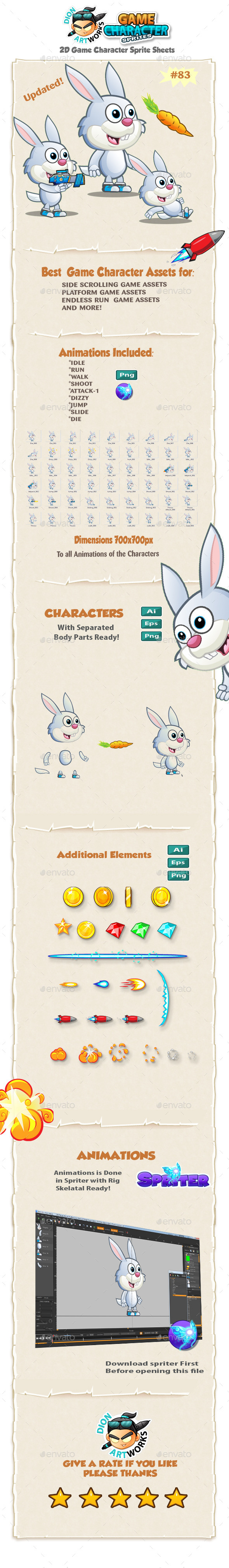 Bunny 2D Game Character Sprites 83 - Sprites Game Assets