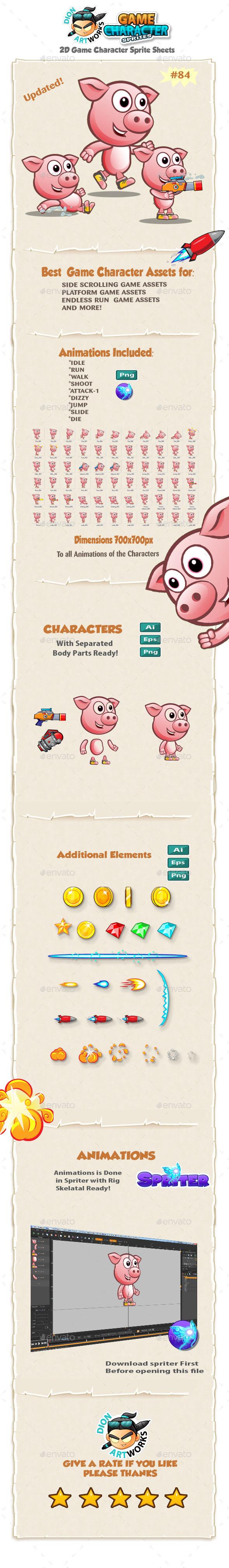 Piggy 2D Game Character Sprites 84 - Sprites Game Assets