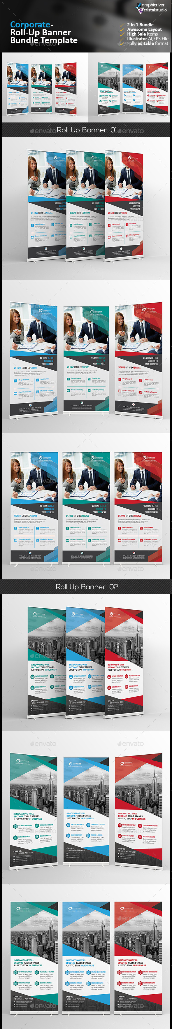 Roll-up Banner Bundle 2 in 1 - Signage Print Templates
