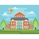School Building Or University With Landscape. - GraphicRiver Item for Sale