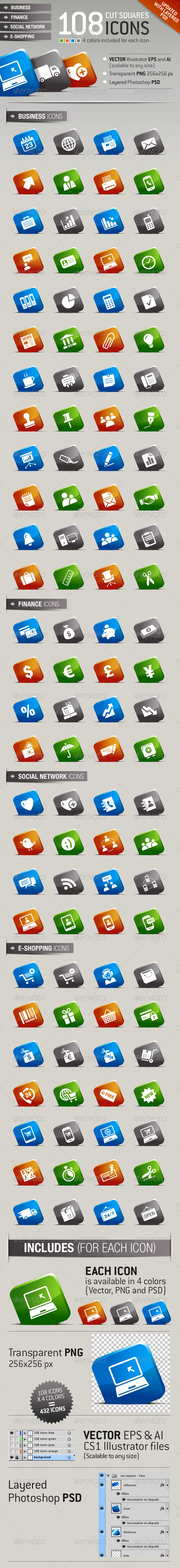 108 Cut Squares Icons - Icons