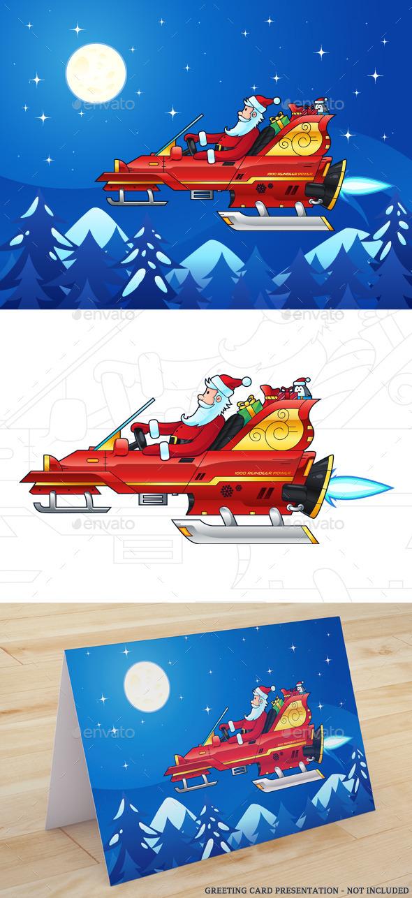 Santa Driving a Futuristic Sleigh - Christmas Seasons/Holidays