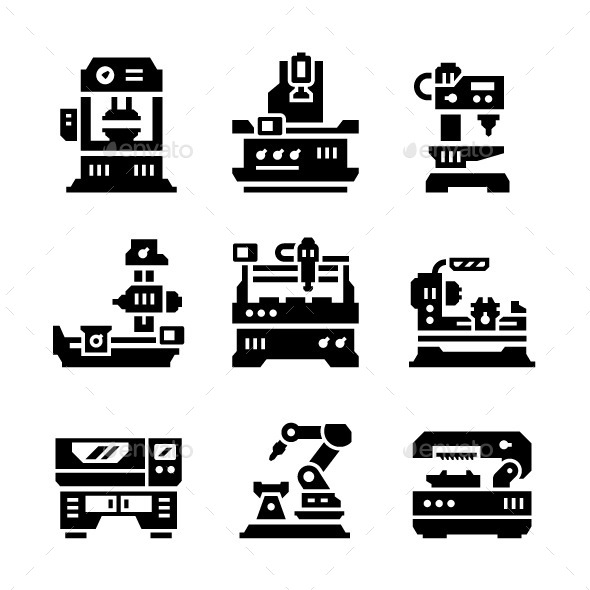 Set Icons of Machine Tool - Man-made objects Objects