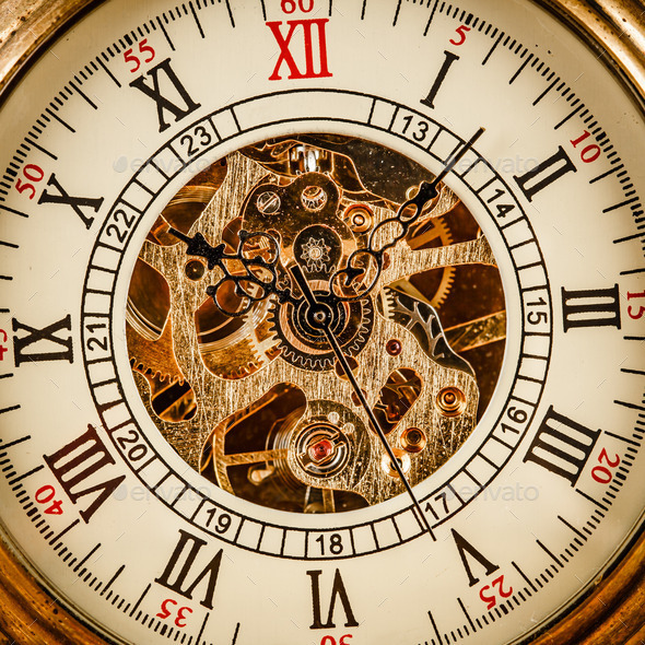 Close up on vintage clock - Stock Photo - Images