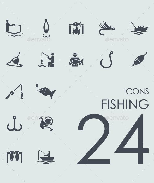 Set of 24 Fishing icons. - Icons