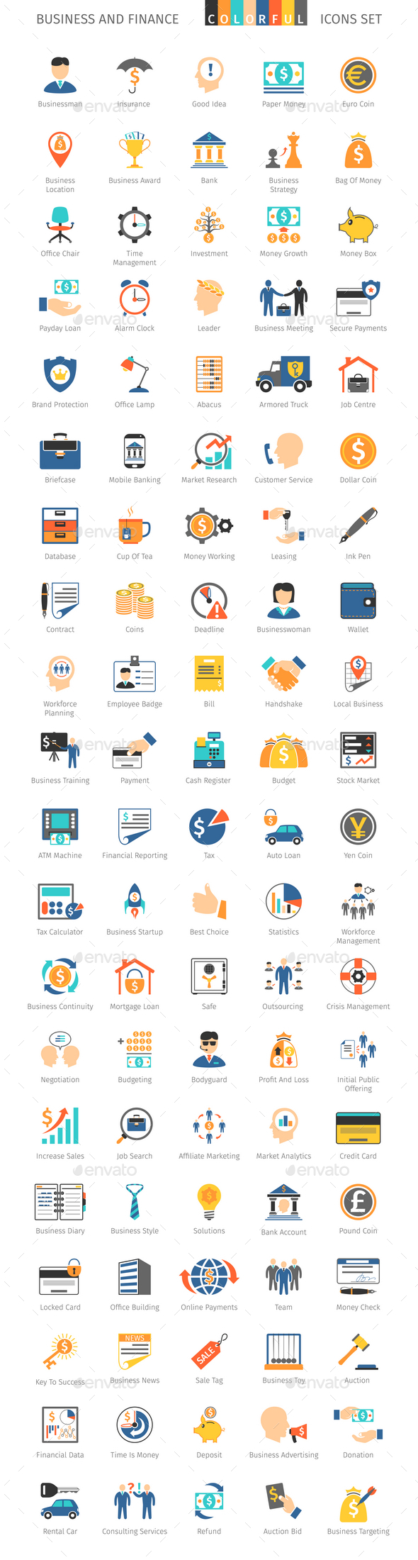 Business and FIinance Colorful Icons - Business Icons