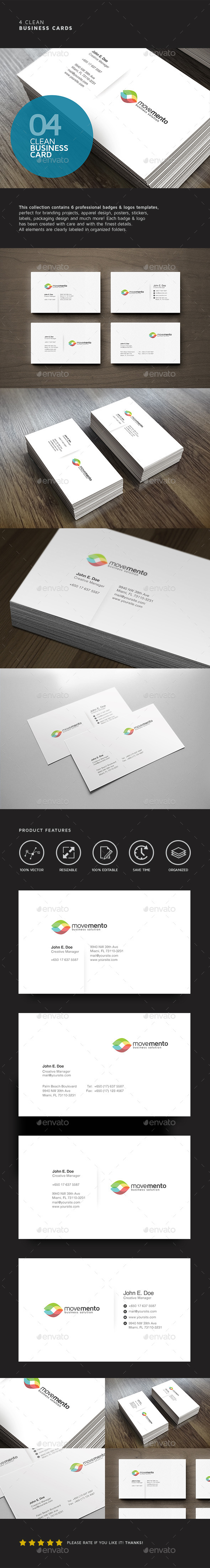 4 Clean Business Cards - Business Cards Print Templates