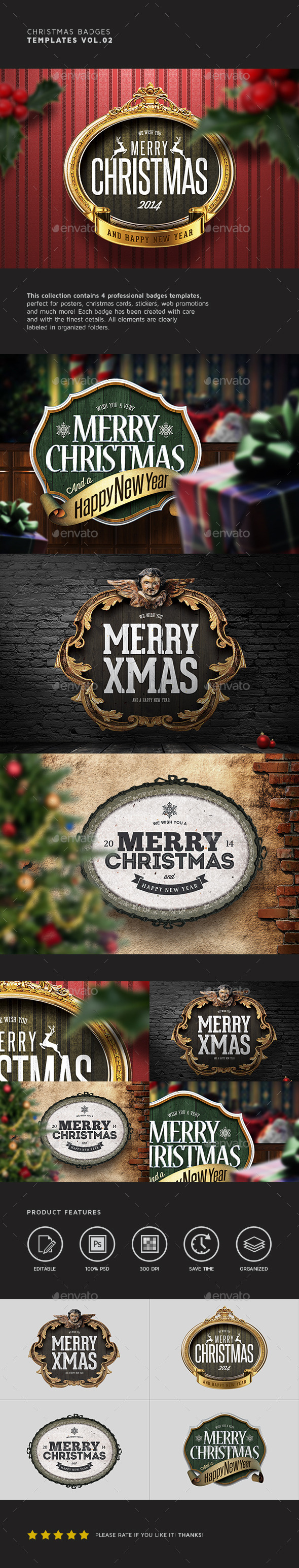 Christmas Badges Vol.02 - Badges & Stickers Web Elements
