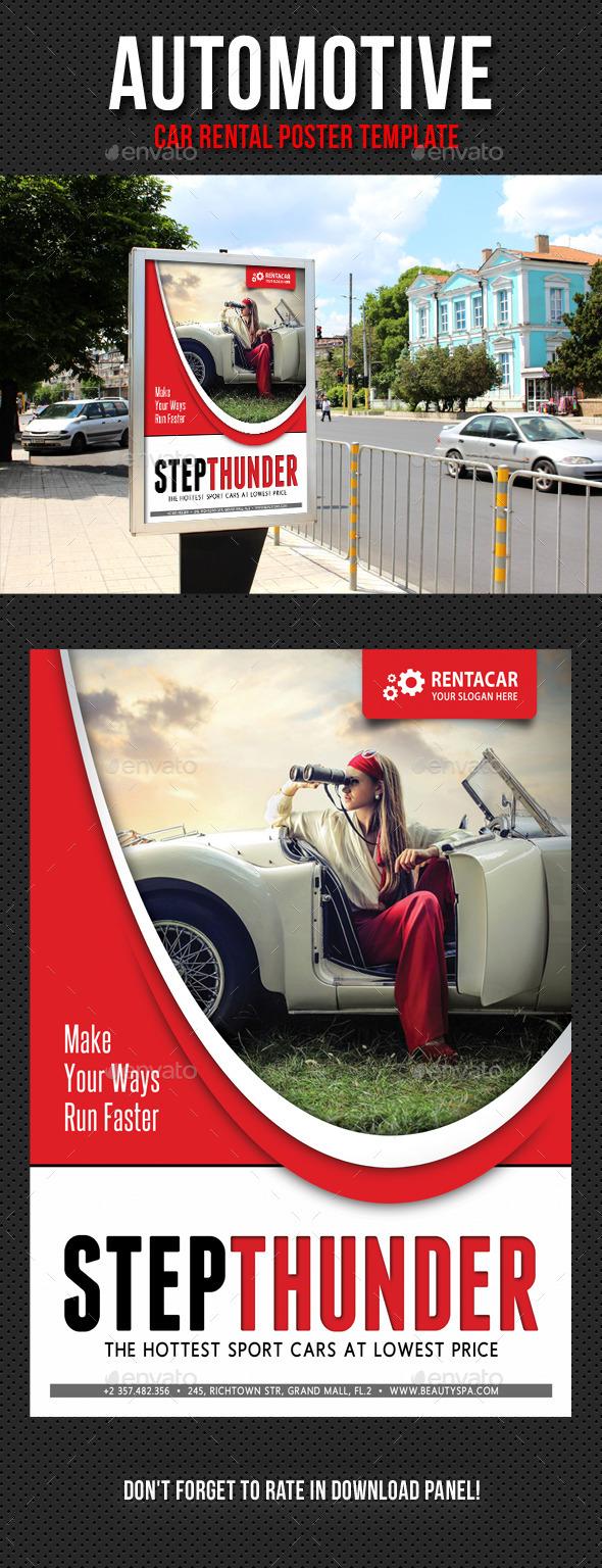 Automotive Car Rental Poster Template V01 - Signage Print Templates