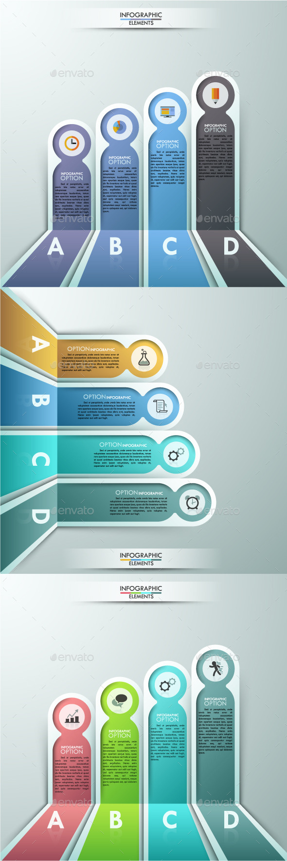 Modern Infographics Paper Template (3 Items) - Infographics
