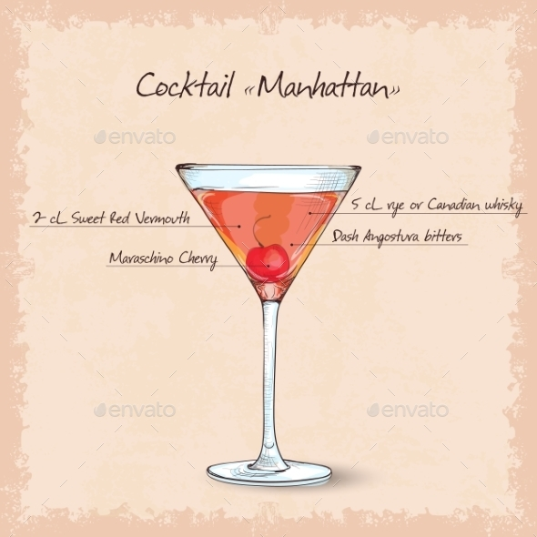 Cocktail Manhattan Sketch - Food Objects