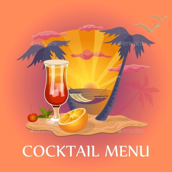 Cocktail Menu Template - Food Objects