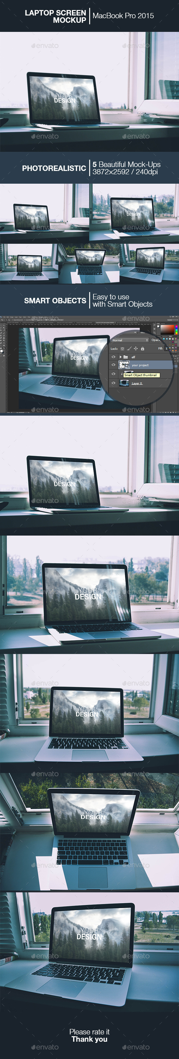 Laptop Screen Mockup | MacBook 2015 - Product Mock-Ups Graphics