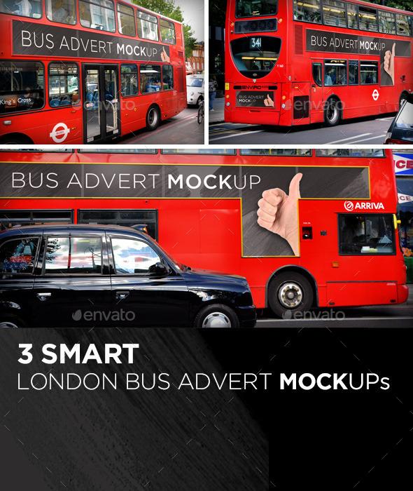 3 Smart London Bus Advert Mock-Ups - Miscellaneous Backgrounds