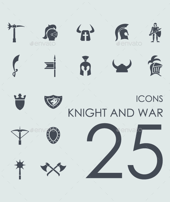 Set of 25 Knight and War icons. - Icons