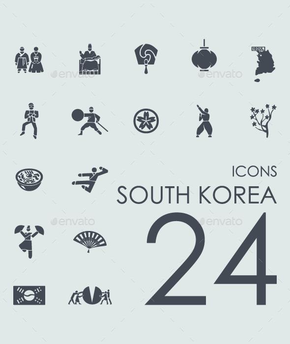 Set of 24 South Korea icons. - Icons