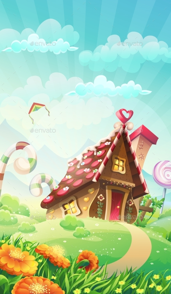 Cartoon Candy House On The Meadow - Vector - Buildings Objects