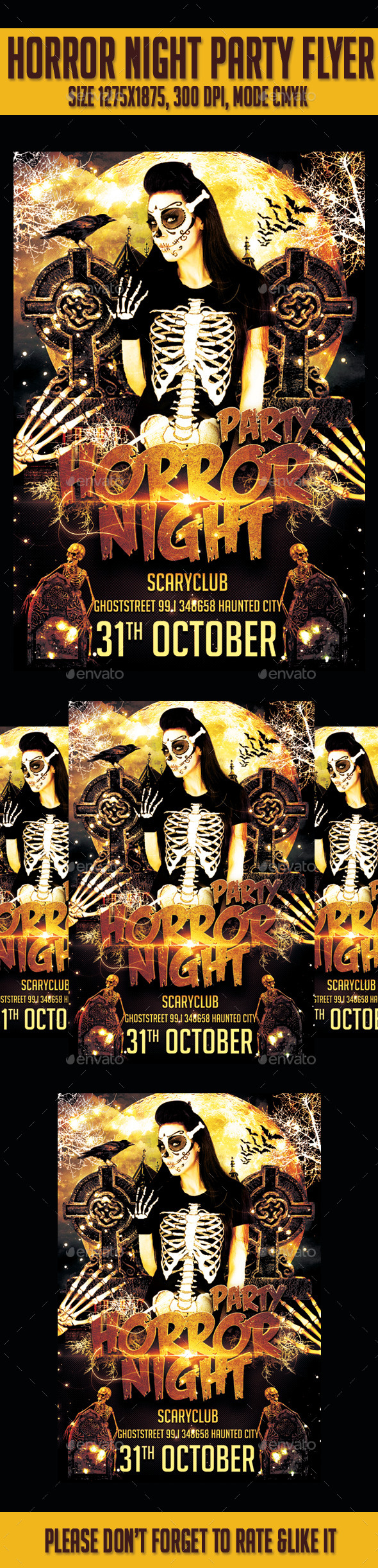 Horror Night  Party Flyer Template - Flyers Print Templates